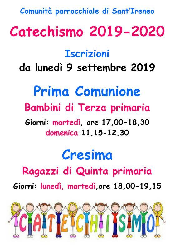 Calendario Comunioni 2020.Sant Ireneo Parrocchia Centocelle Roma